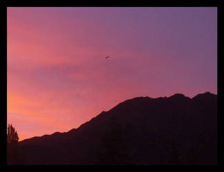 Parachuting into Sunset by vixarama