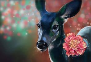deer and a flower by Kotis-Ikrina