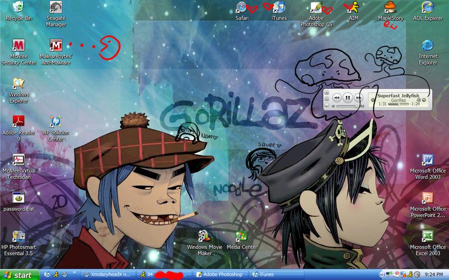 2d n noodle desktop wallpaper by xmzlazyheadx on deviantart - Gorillaz 2d wallpaper ...