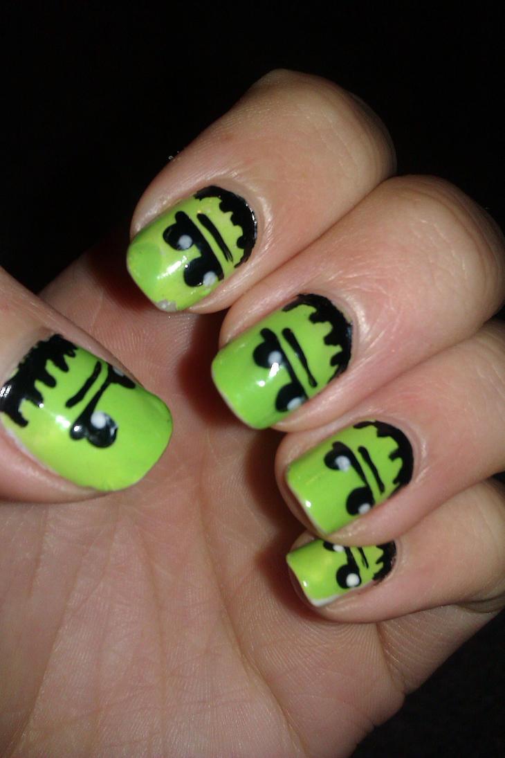 Frankenstein nails by LittleMissTass on DeviantArt