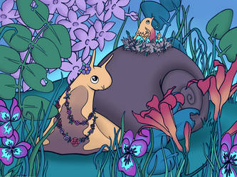 Snail out for a stroll by Child-Of-Gaea