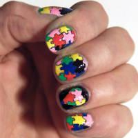 Autism Puzzle Nail Art by jaxcullengfx