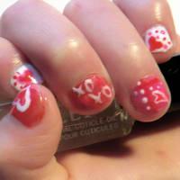 Little Girl Valentine's Day Gel Mani by jaxcullengfx