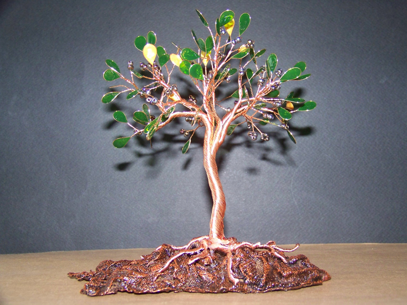 Wire fantasy olive tree of life sculpture by oto robotnik for How to make a wire tree of life sculpture