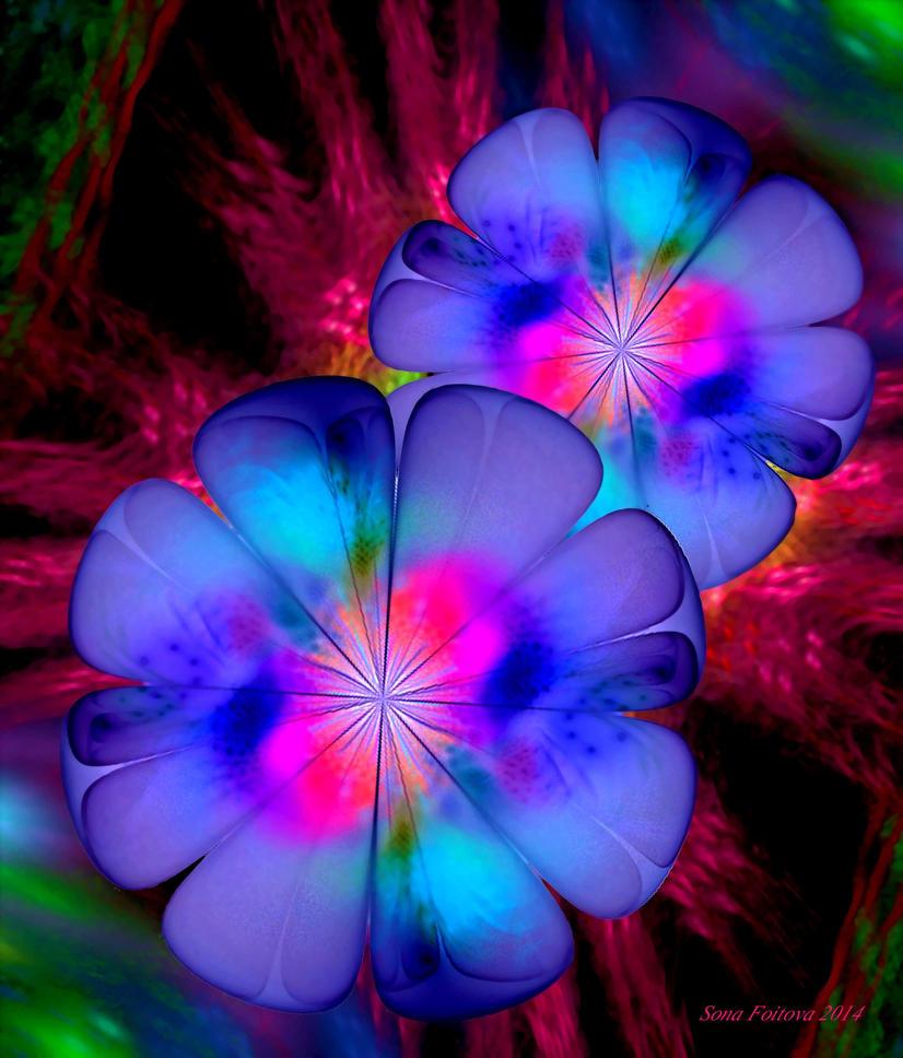 Wallpaper Neon Flowers APO By Sonafoitova