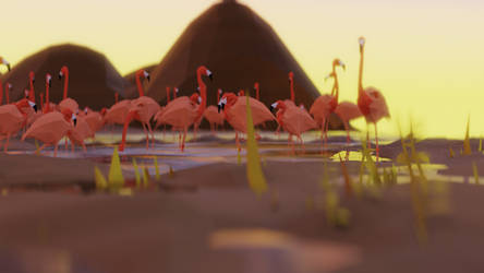 shhhhht or the low Poly Flamingos will fly away by ToxicTuba