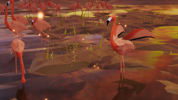 Low Poly Flamingos in shallow water