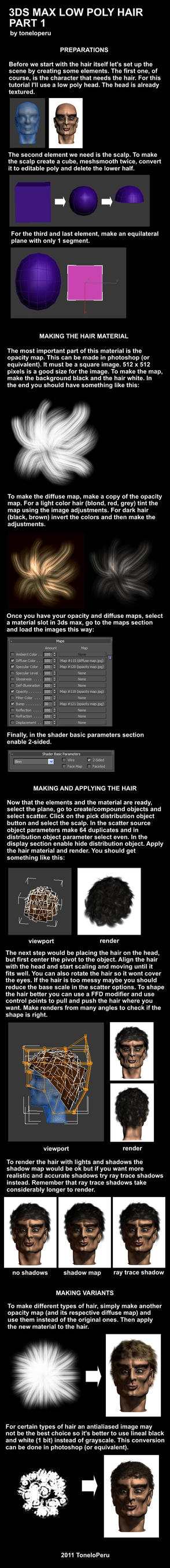 Low poly hair tutorial pt 1 by toneloperu