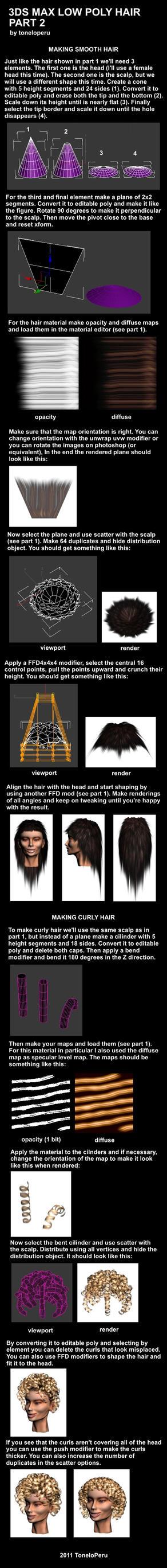 Low poly hair tutorial pt 2 by toneloperu
