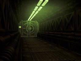 gloomy sci fi corridor by toneloperu