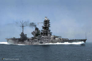 Battleship Hyuga colored by tr4br
