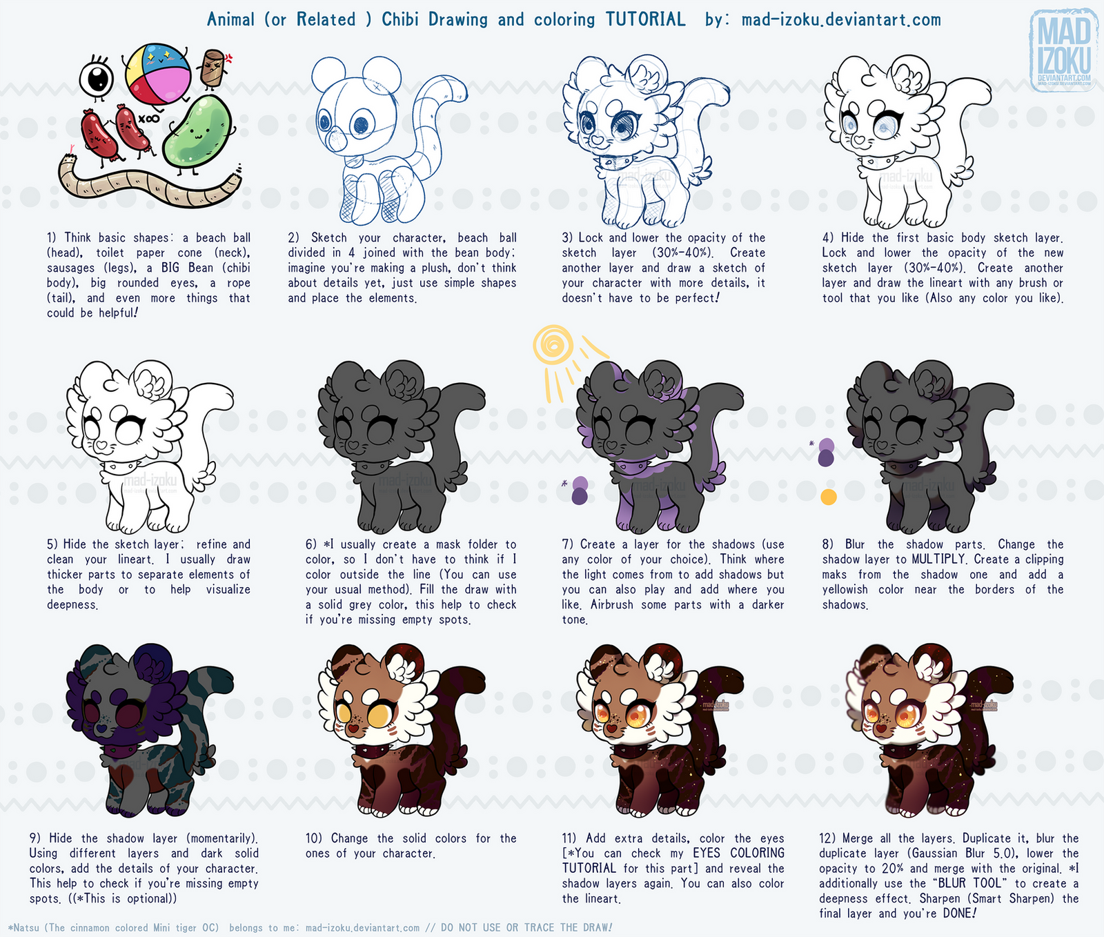 Animal Chibi Draw + Color TUTORIAL by Mad-Izoku by Mad-Izoku on ...