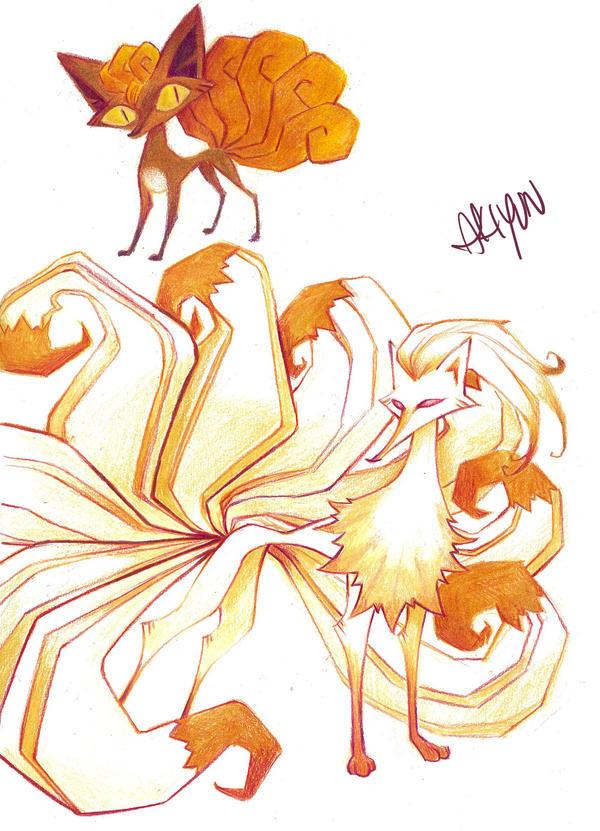 Vulpix and Ninetales by AkiYun