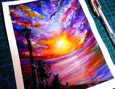 Watercolor Sunset Tutorial