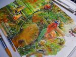 WIP { Mushroom Forest } -Watercolor Painting