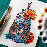 Fruit and Soda Watercolor Painting by frankekka