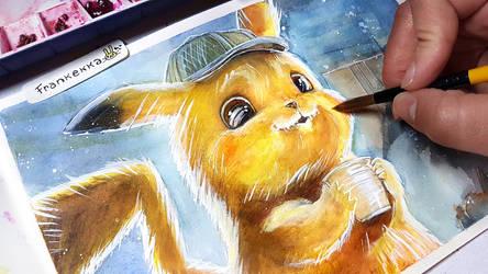 Detective Pikachu - Watercolor Painting by frankekka