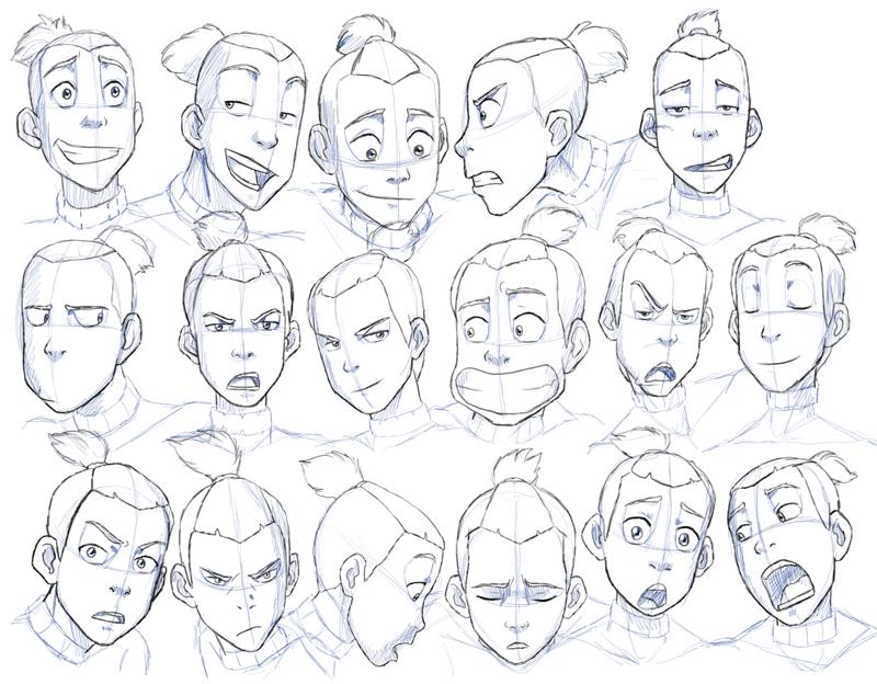 Character Design Expression Chart : Sokka expressions study by nylak on deviantart