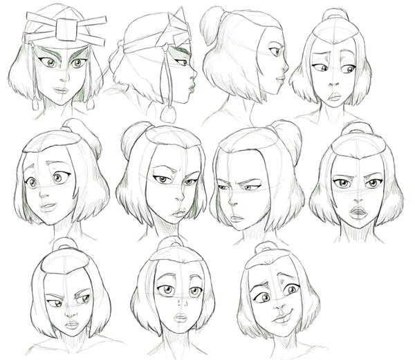 Character Design Avatar The Last Airbender : Suki expressions study by nylak on deviantart