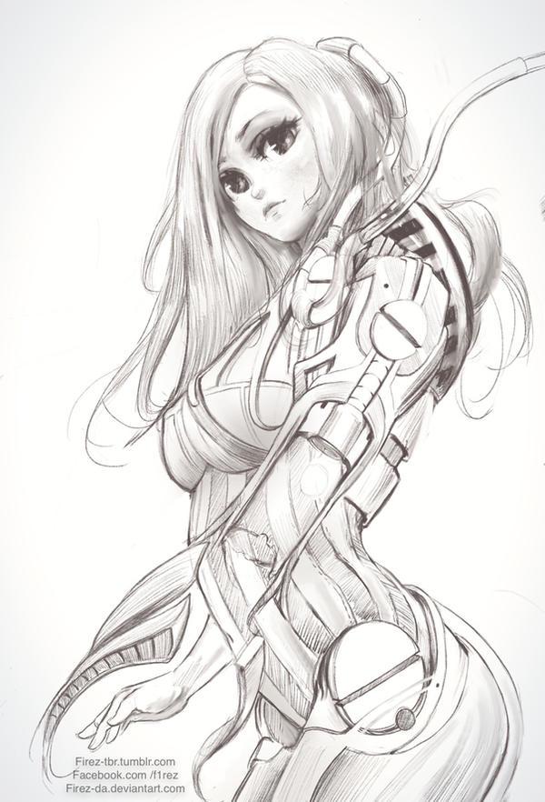 Gynoid sketch by FiRez-DA