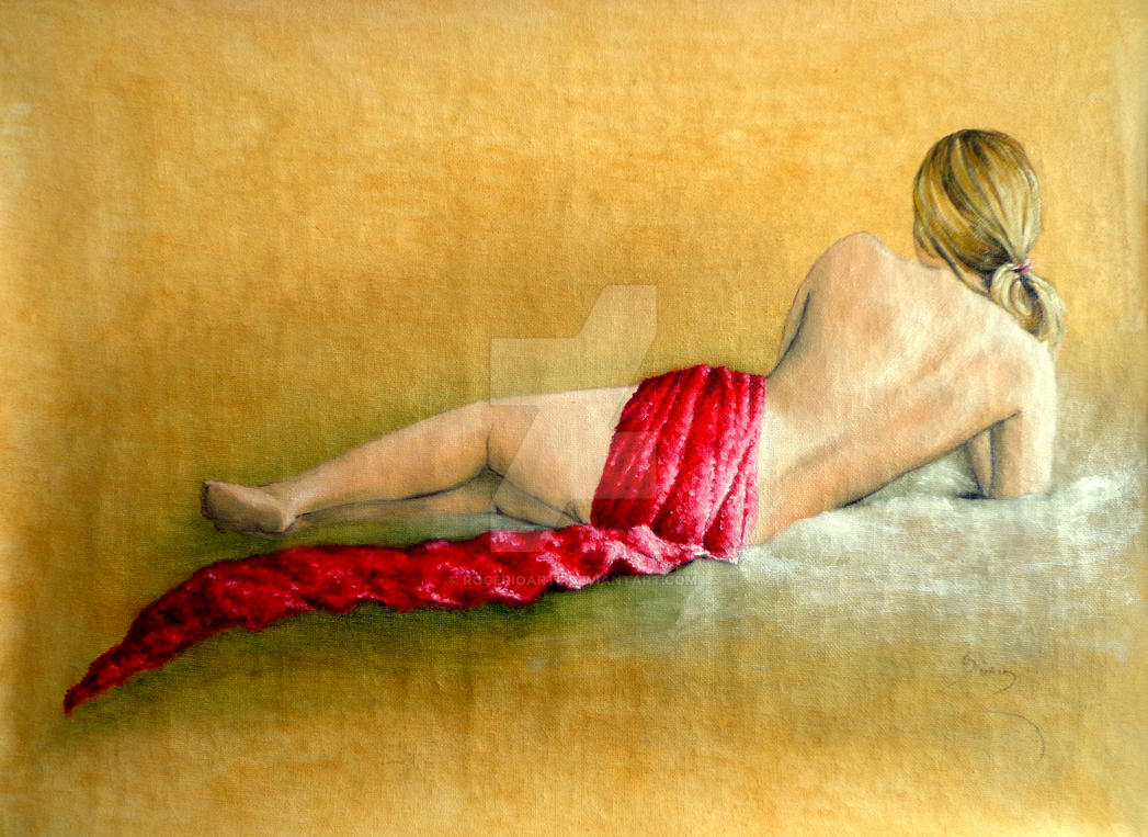 Nude red scarf poster
