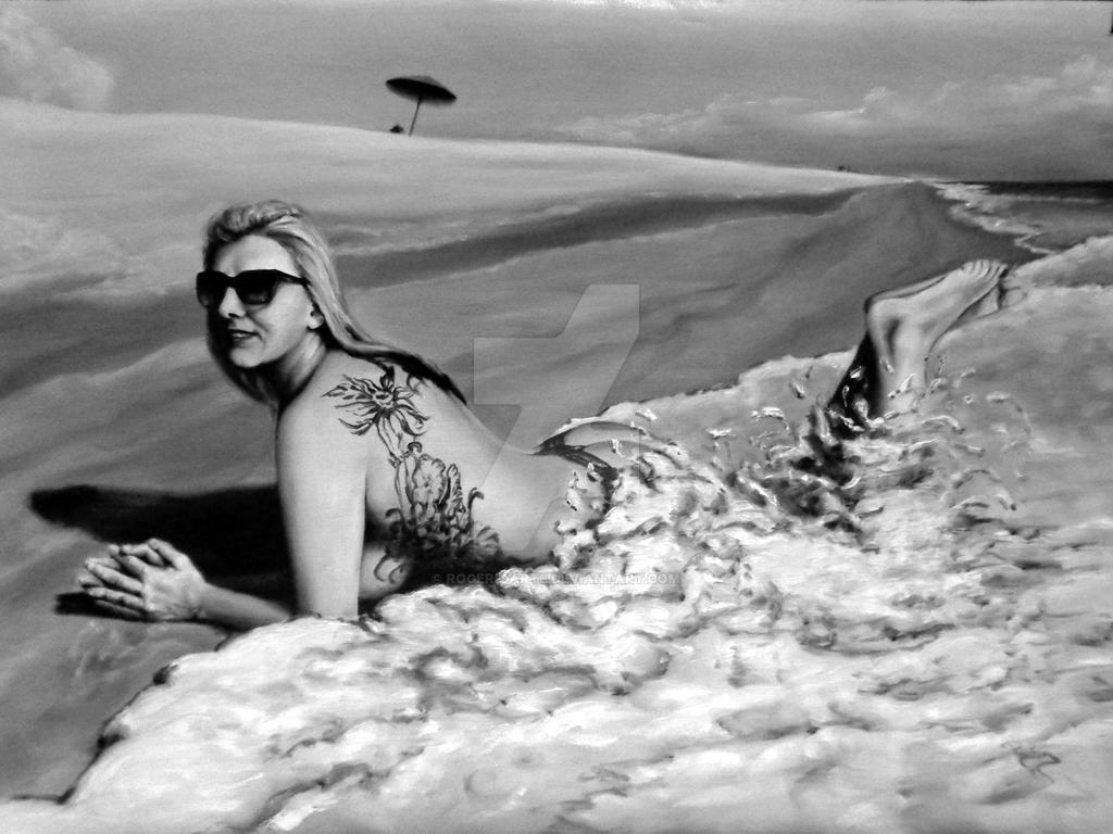 Lisa artistic nude at beach by rogerioarte