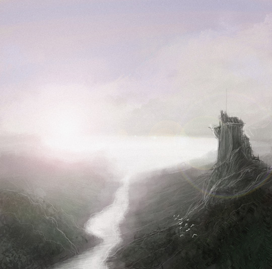 Fantasy landscape speedpainting 2014 March 08 by gaborcsigas