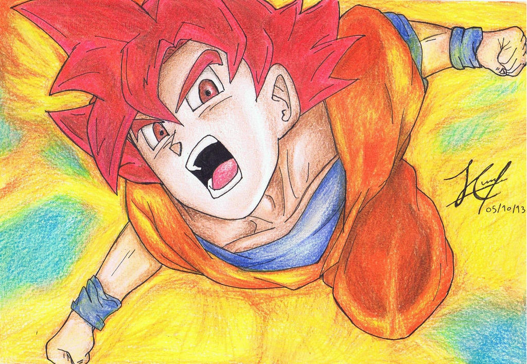 Goku SSJ Dios con colores by JCmejia on DeviantArt
