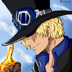 Sabo in Ace's pose