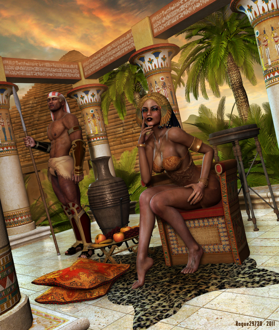 Nude egyptian fantasy art anime video