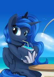 Luna and her slushie by Neoncel