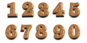 3D Polished Wooden Numbers With Transparent Backgr