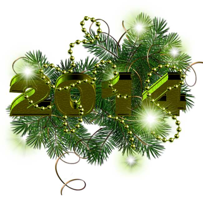 New Year 2014 Decoration With Green Stars PNG by PLACID85 ...