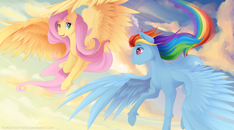 Fluttershy And Rainbow Dash Wallpaper By TheNornOnTheGo