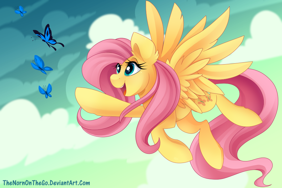 fluttershy flying with butterflies - 800×533
