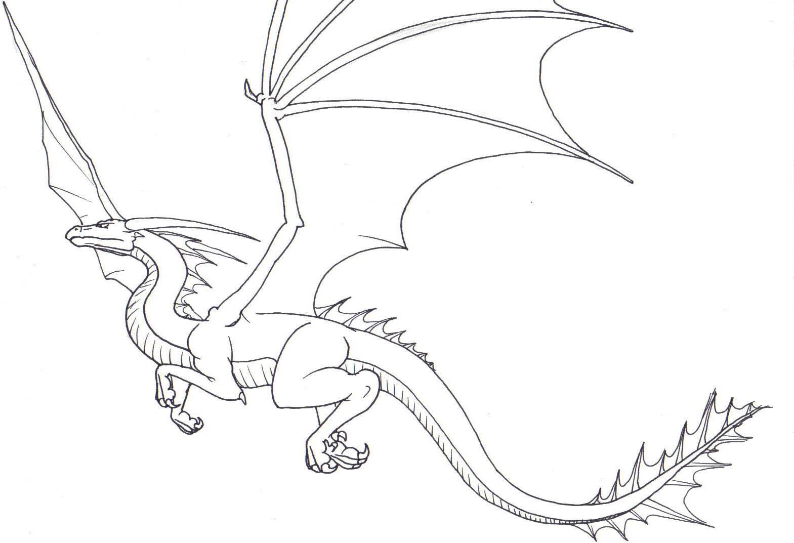 flying dragon drawings in pencil