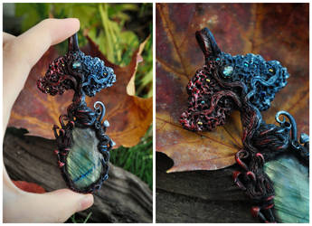 Elemental Tree Necklace - Fire And Water by Eartha-Creations