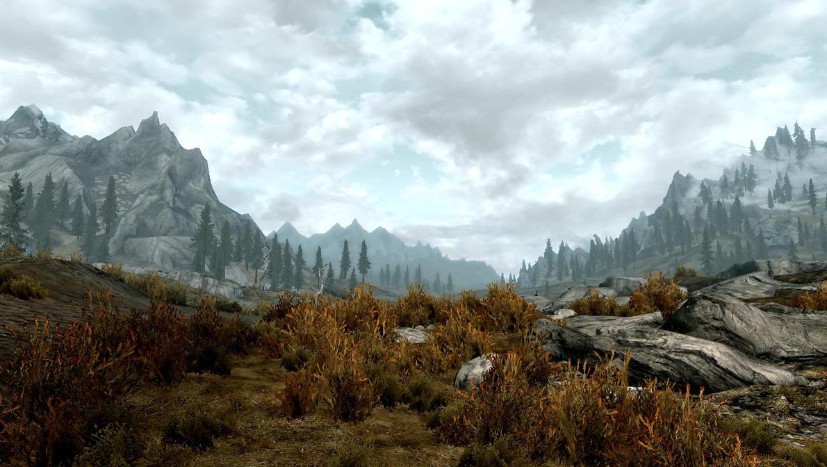 Skyrim Mountain View by Soul-Daemon
