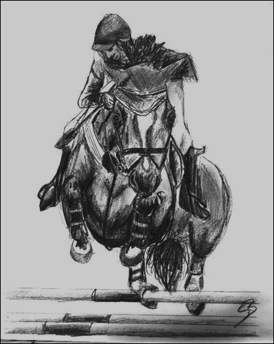 Drawings of horses jumping