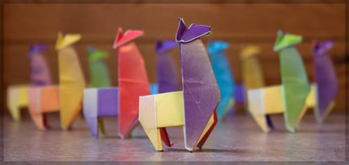 Rainbow llamas by CookiemagiK