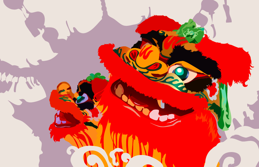 Chinese Lion Dance Vector Chinese Lion Dance by