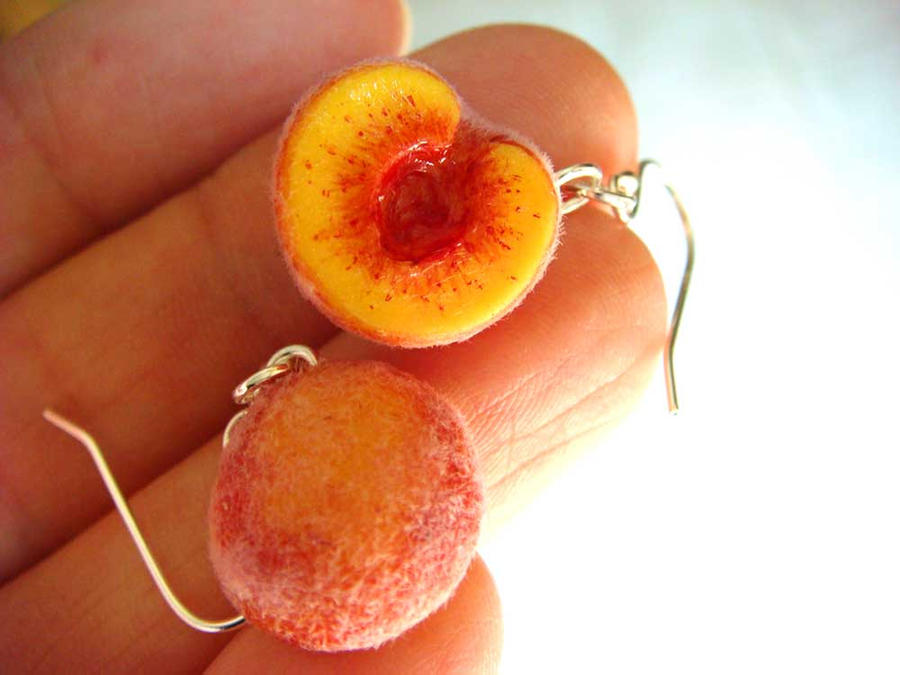 Peach Earrings by KawaiiCulture