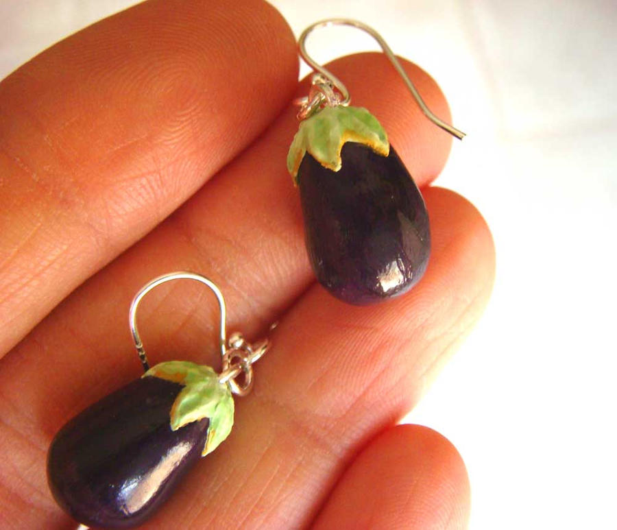 Eggplant Earrings by KawaiiCulture