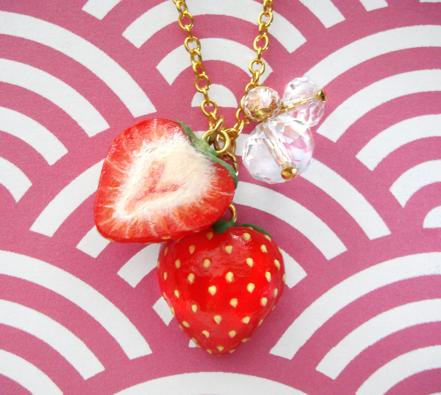 Sliced Strawberries Necklace by KawaiiCulture