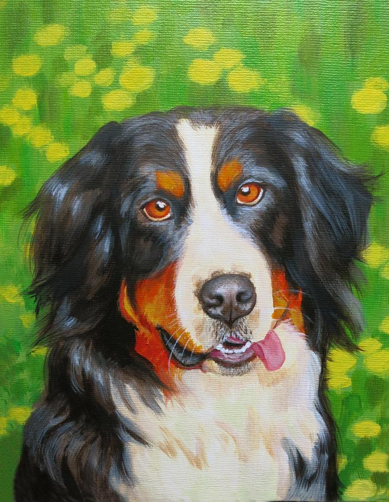 Dog Portrait in Acrylic by KawaiiCulture