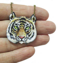 Tiger Necklace - acrylic on polymer clay
