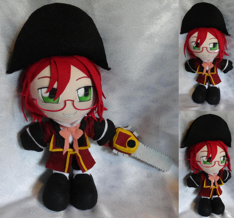 Commission, Plushie British Grell Sutcliff by ThePlushieLady
