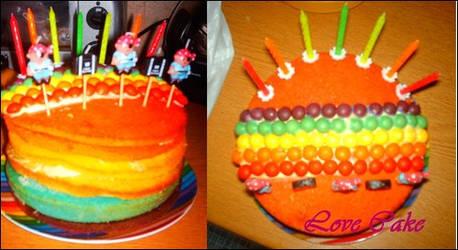 Rainbow cake :D by Rosiiiiie