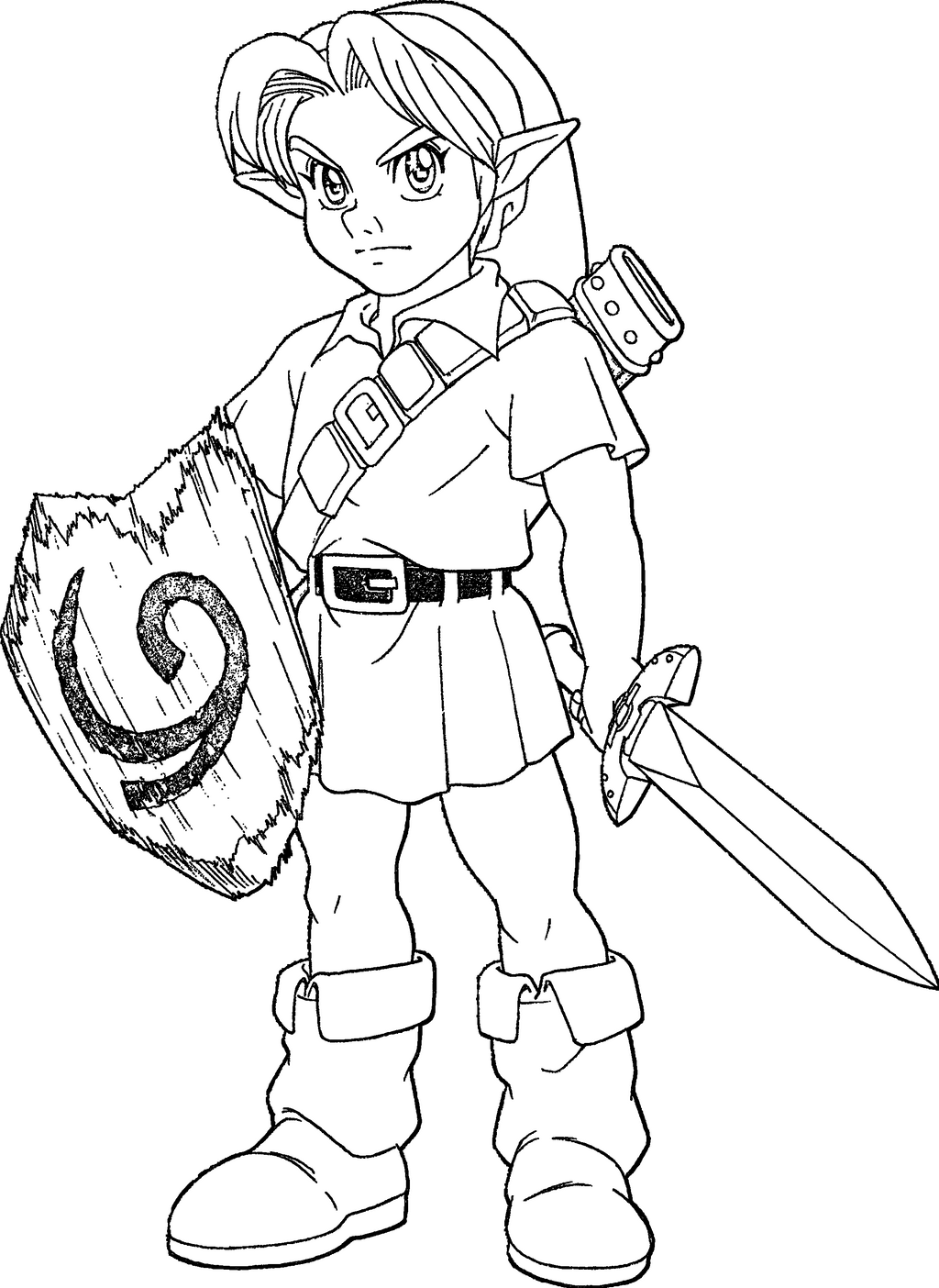 Young link ocarina of time lineart by skylight1989 on - Coloriage de link ...