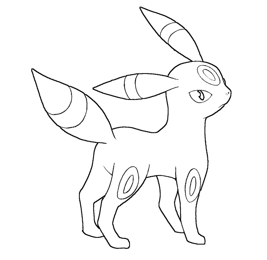 Pokemon coloring pages espeon - Umbreon Lineart By Skylight1989